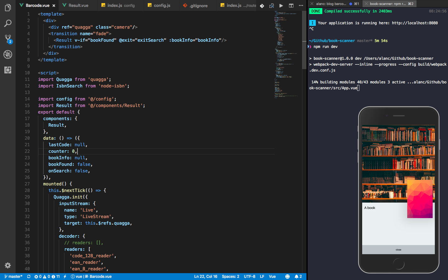 Development environment with vscode and iTerm